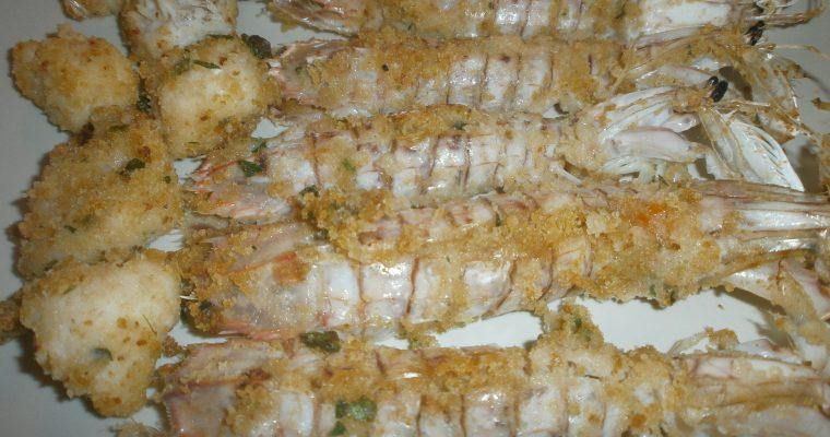 canocchie e bocconcini di rana pescatrice al forno